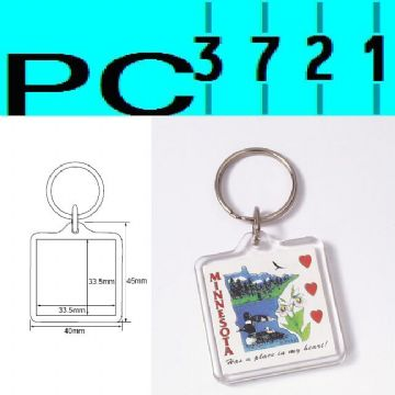 Pack of 10 Blank Square Clear Plastic Keyrings 33.5 x 33.5 mm Insert 09012